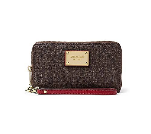 6e07b247d053 Image Unavailable. Image not available for. Color  MICHAEL Michael Kors Jet  Set Large Flat Multifunction Phone Case Brown Cherry