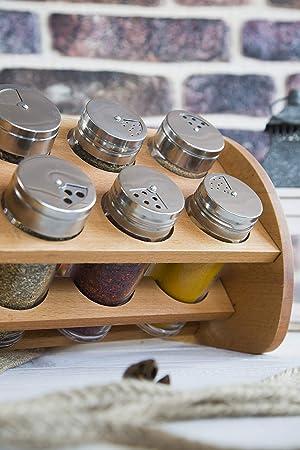 organizador Dispensador de hierbas Estante de especias de madera Utensilio de encimera de mesa de cocina Hogar 6 frascos de vidrio con tapas de metal ajustables