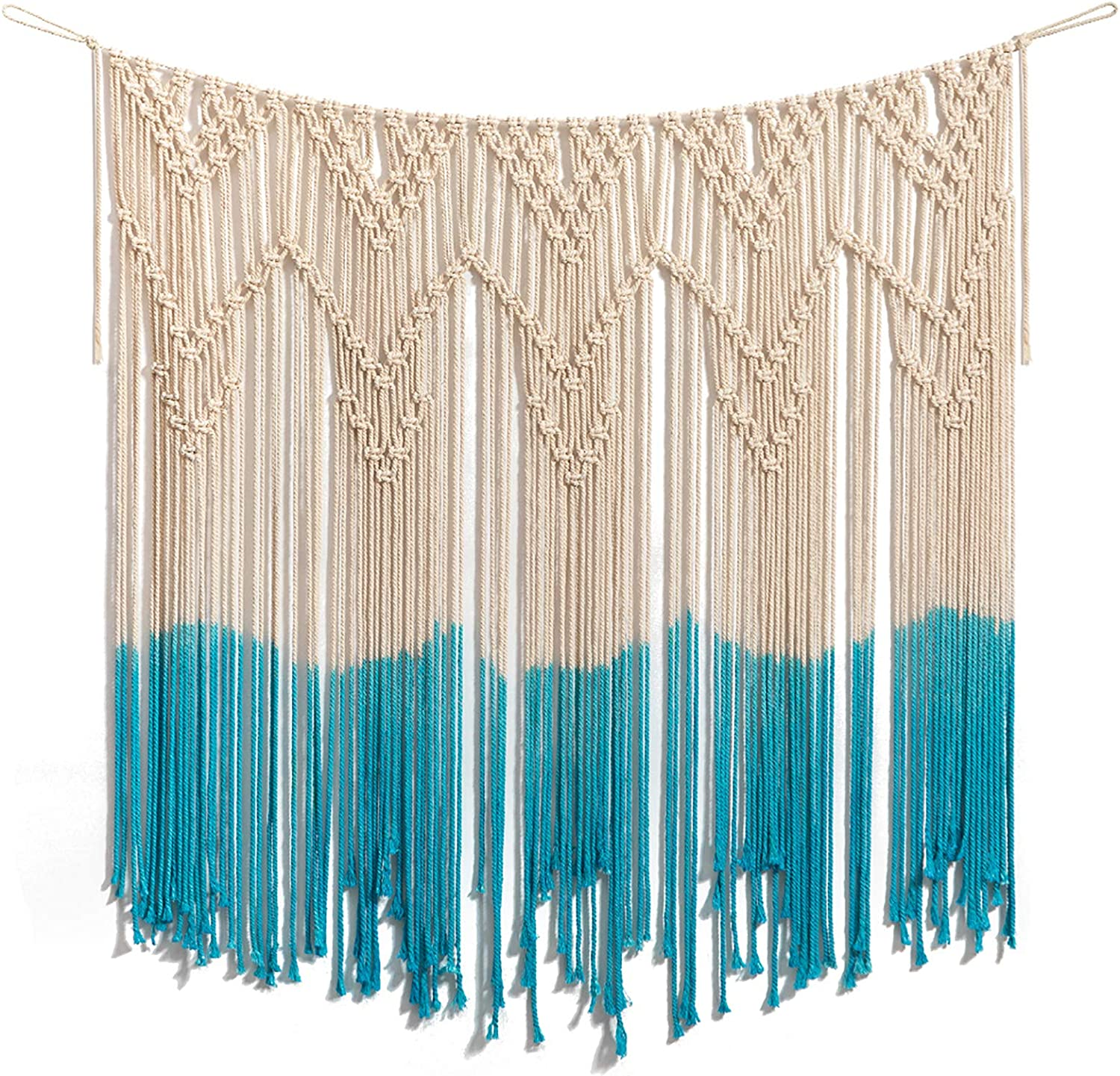 """ARTALL Wall Hanging Macrame Curtain Fringe Banner Bohemian Wall Decor Woven Tapestry Home Decoration for Wedding Apartment Teal 40""""x 44"""""""