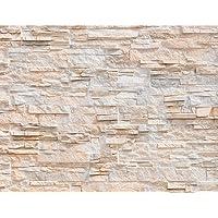 Fotobehang Stenen Muur 3D Effect 352 x 250 cm - Vliesbehang Woonkamer Slaapkamer Kantoor Hal Decoratie Muurschilderingen…
