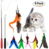 Tacobear 2 Piece Retractable Interactive Teaser Cat Wand 7 Refills Feathers, Cat Feather Toys For Cat