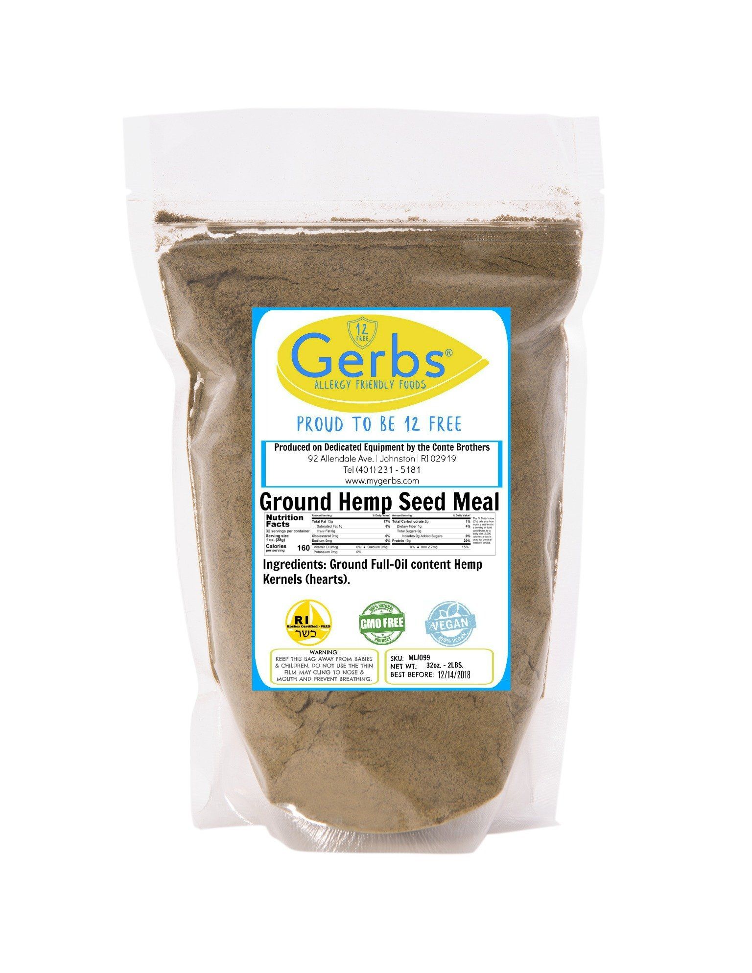 Ground Hemp Kernel Meal, 2 LBS by Gerbs - Top 12 Food Allergy Free & NON GMO - Vegan & Kosher – Premium Full Oil Content Hemp Protein Powder