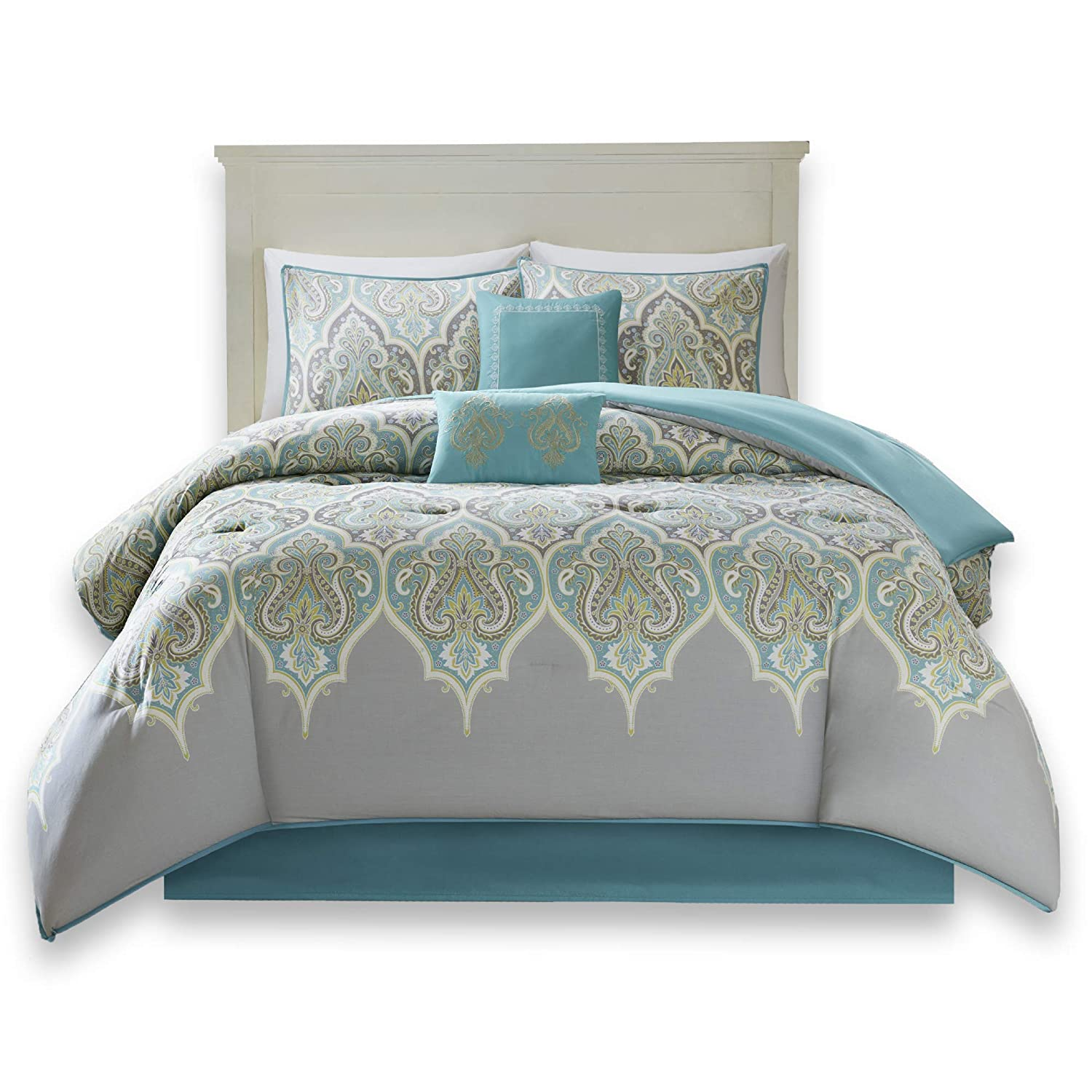 Comfort Spaces - Mona Cotton Printed Comforter Set - 6 Piece - Teal Grey - Paisley Design - Queen Size, Includes 1 Comforter, 2 Shams, 1 Bedskirt, 2 Embroidered Decorative Pillows