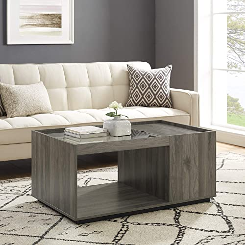 Editors' Choice: Walker Edison Modern Wood and Glass Rectangle Coffee Table Living Room Ottoman Storage Shelf 40 Inch