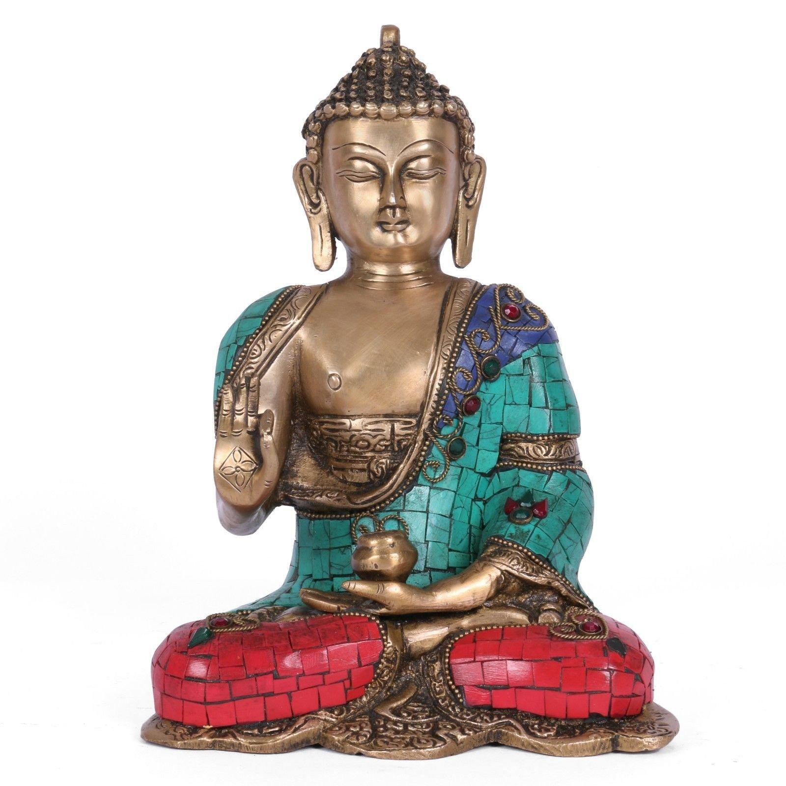 Abhaya Buddha Statue Nepal Turquoise Blessing Brass Buddha Idol India Decor Art