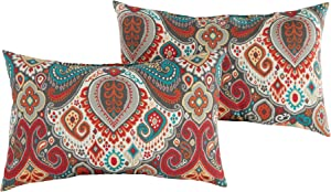 Greendale Home Fashions Set of 2 Outdoor 19x12-inch Rectangle Throw Pillows, Painted Desert