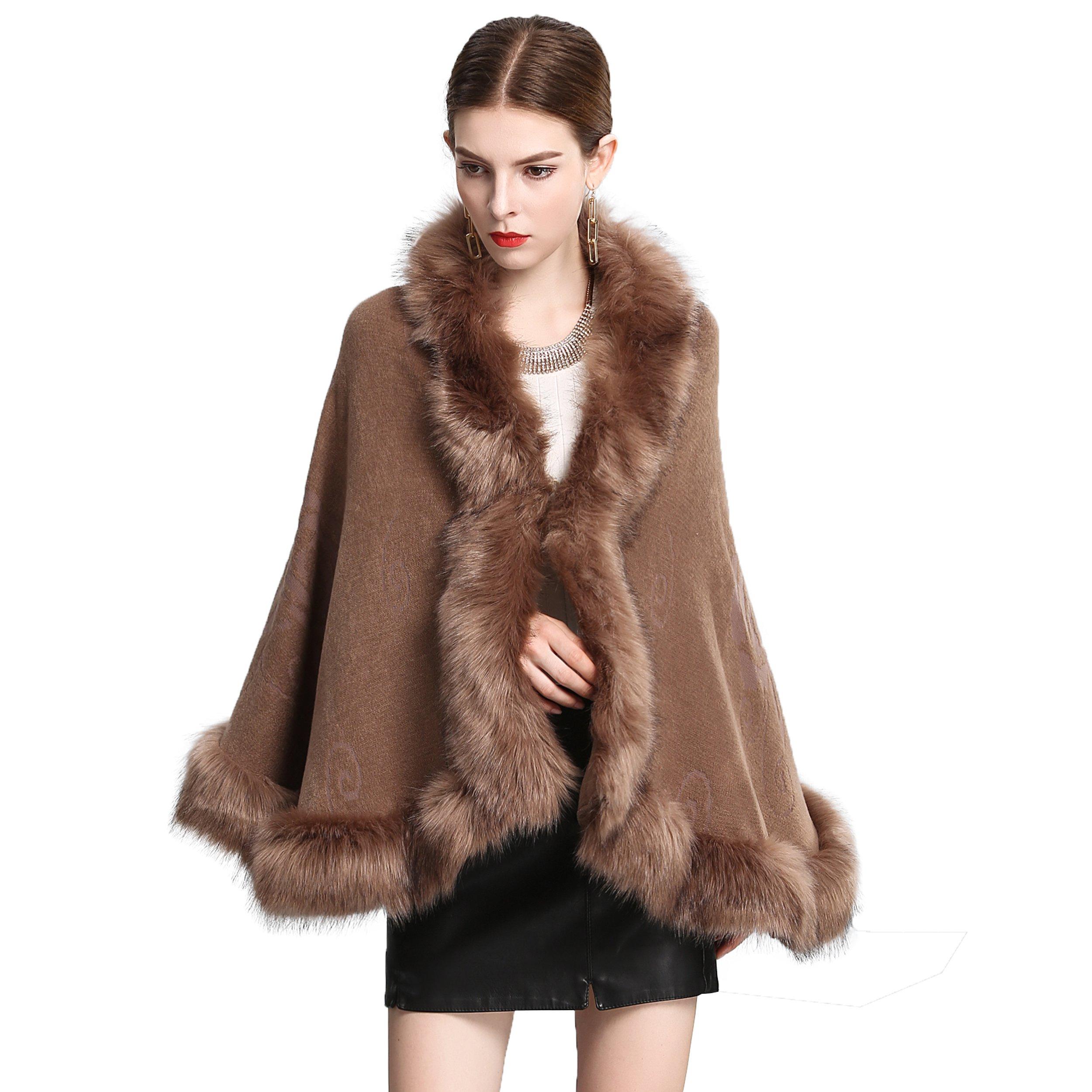 Caracilia Women Bridal Faux Fur Shawl Wraps Cloak Coat Sweater Khaki2