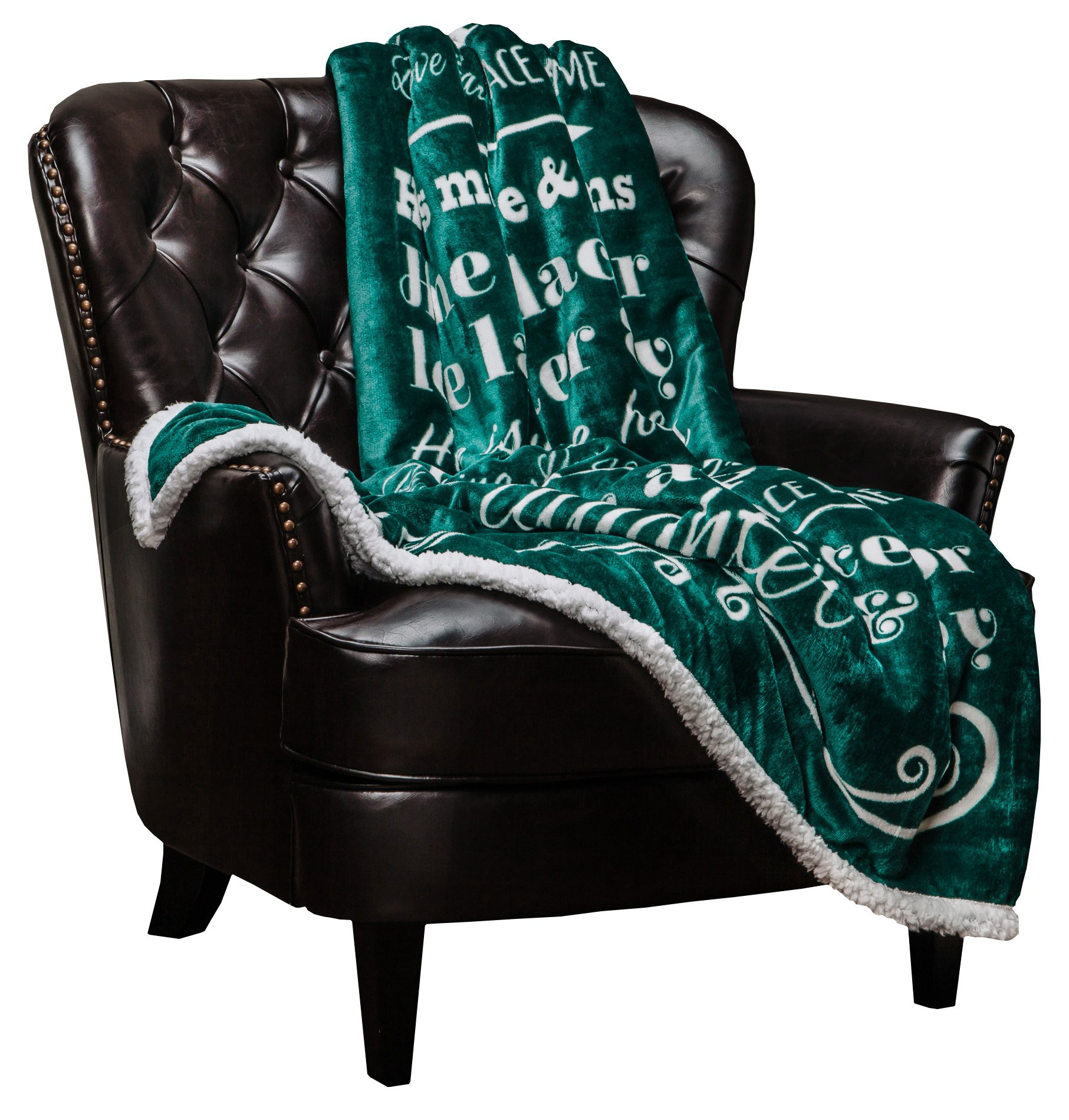 Chanasya Home Sweet Home Message Print Super Soft Plush Fleece Microfiber Sherpa Reversible Throw Blanket For Couch Bed Sofa Chair Great House Warming Gift Blanket - Evergreen Teal