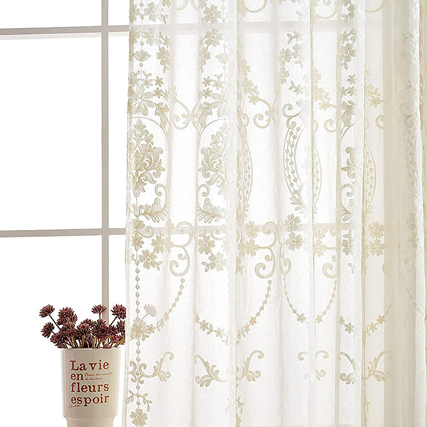 Slow Soul 12 Panels White European Style Sheer Curtain Embroidered Window  Curtains Europe Floral Tulle for Living Room Bedroom with Rod Pocket White  ...