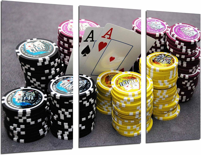 Cuadro Fotográfico Juego Mesa, Casino, Cartas y Fichas Poker, As, Fortuna Tamaño total: 97 x 62 cm XXL: Amazon.es: Hogar