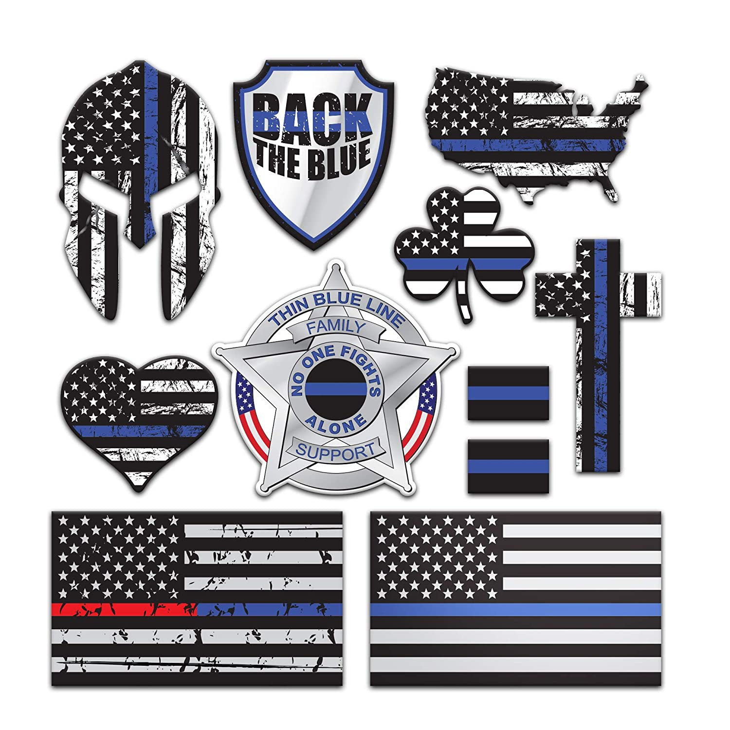 SpeedSquare Tools 11 Pack Police Thin Blue Line Stickers | 100% Vinyl | Proudly Made in USA Quality Decals for Patrol Car Truck Jeep HydroFlask Laptop Gear | Display Your American Flag