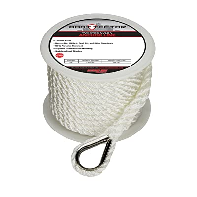 "Extreme Max 3006.2075 BoatTector Twisted Nylon Anchor Line with Thimble - 3/8"" x 50', White: Automotive"