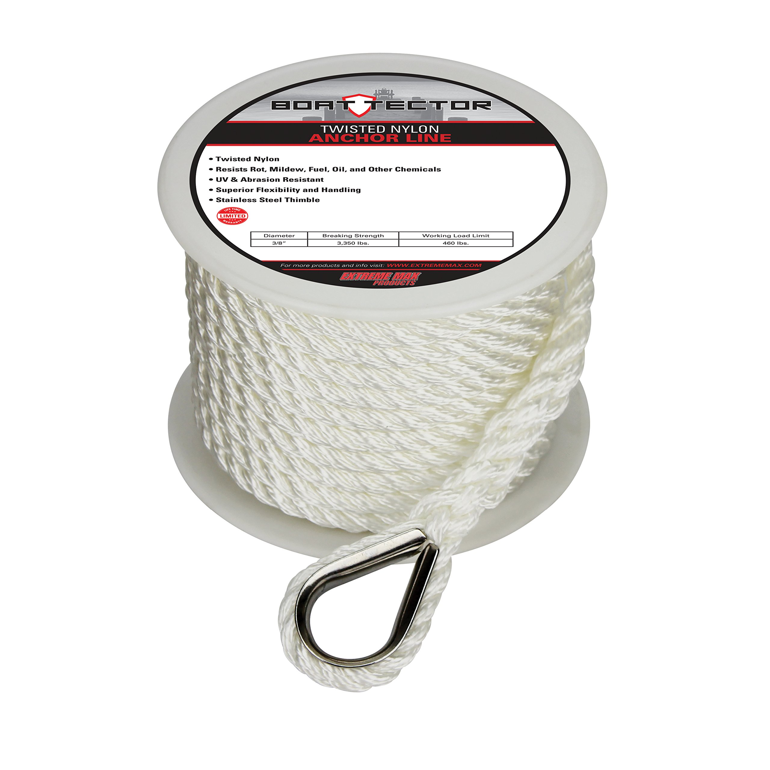 Extreme Max 3006.2075 BoatTector Twisted Nylon Anchor Line with Thimble - 3/8'' x 50', White