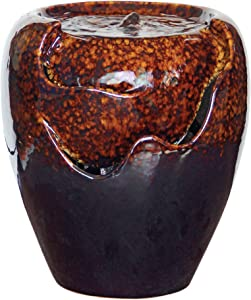 Design Toscano Burnt Umbra Ceramic Jar Garden Fountain,brown