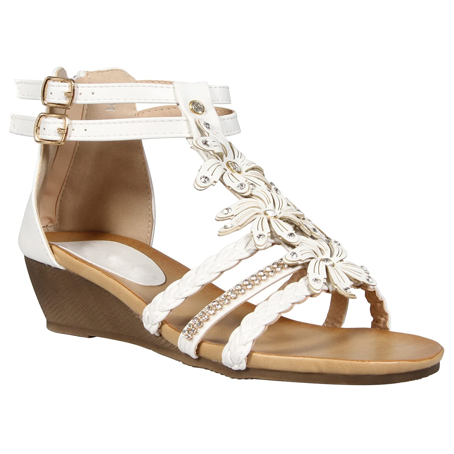 MyShoeStore LADIES WOMENS GLADIATOR SANDAL STRAPY WEDGE SUMMER FLOWER BEACH  SANDALS LOW HEEL BACK ZIP SHOES SIZE 3-8  Amazon.co.uk  Shoes   Bags 84439a7d85