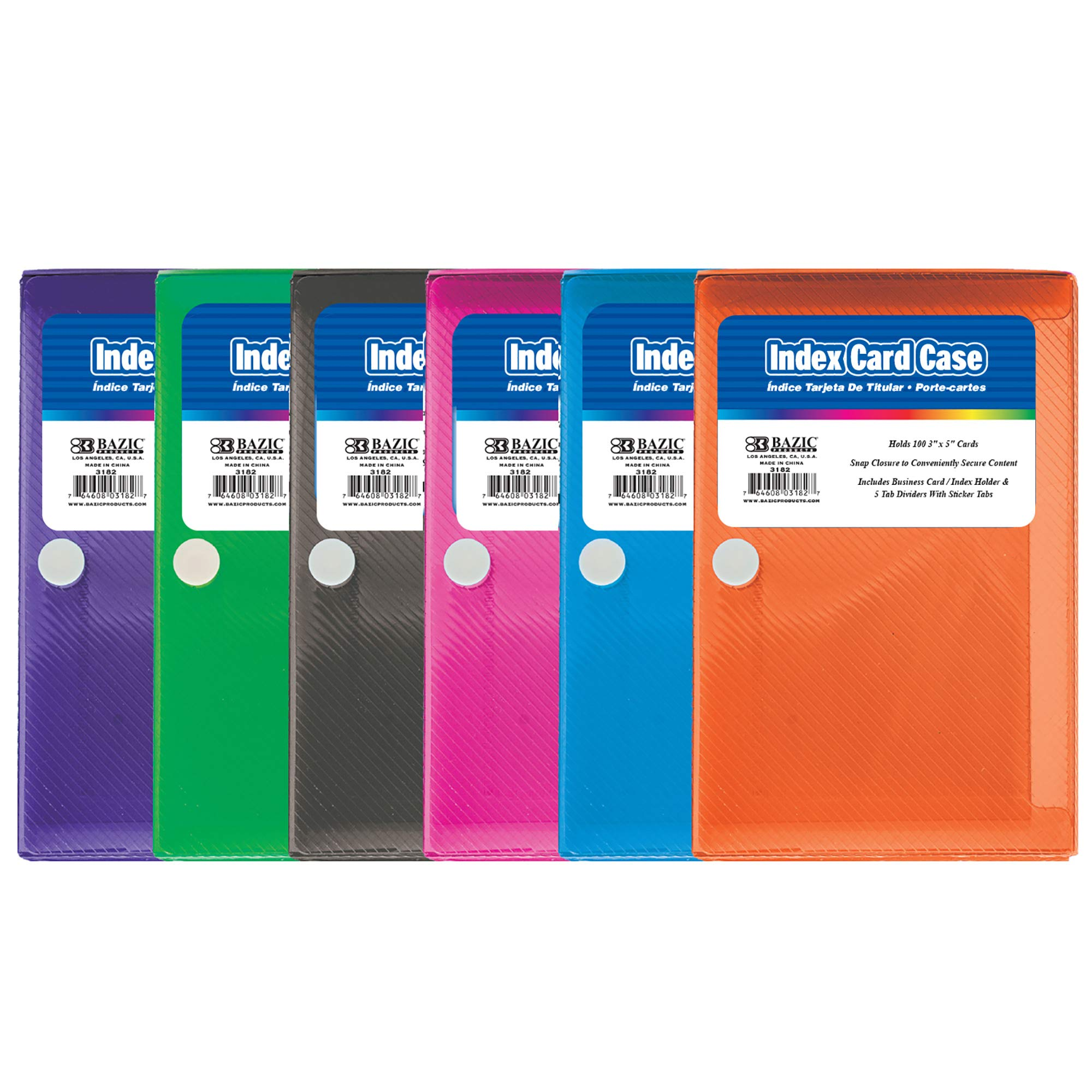 BAZIC 3'' X 5'' Index Card Case w/ 5-Tab Divider (Case of 36) by B BAZIC PRODUCTS