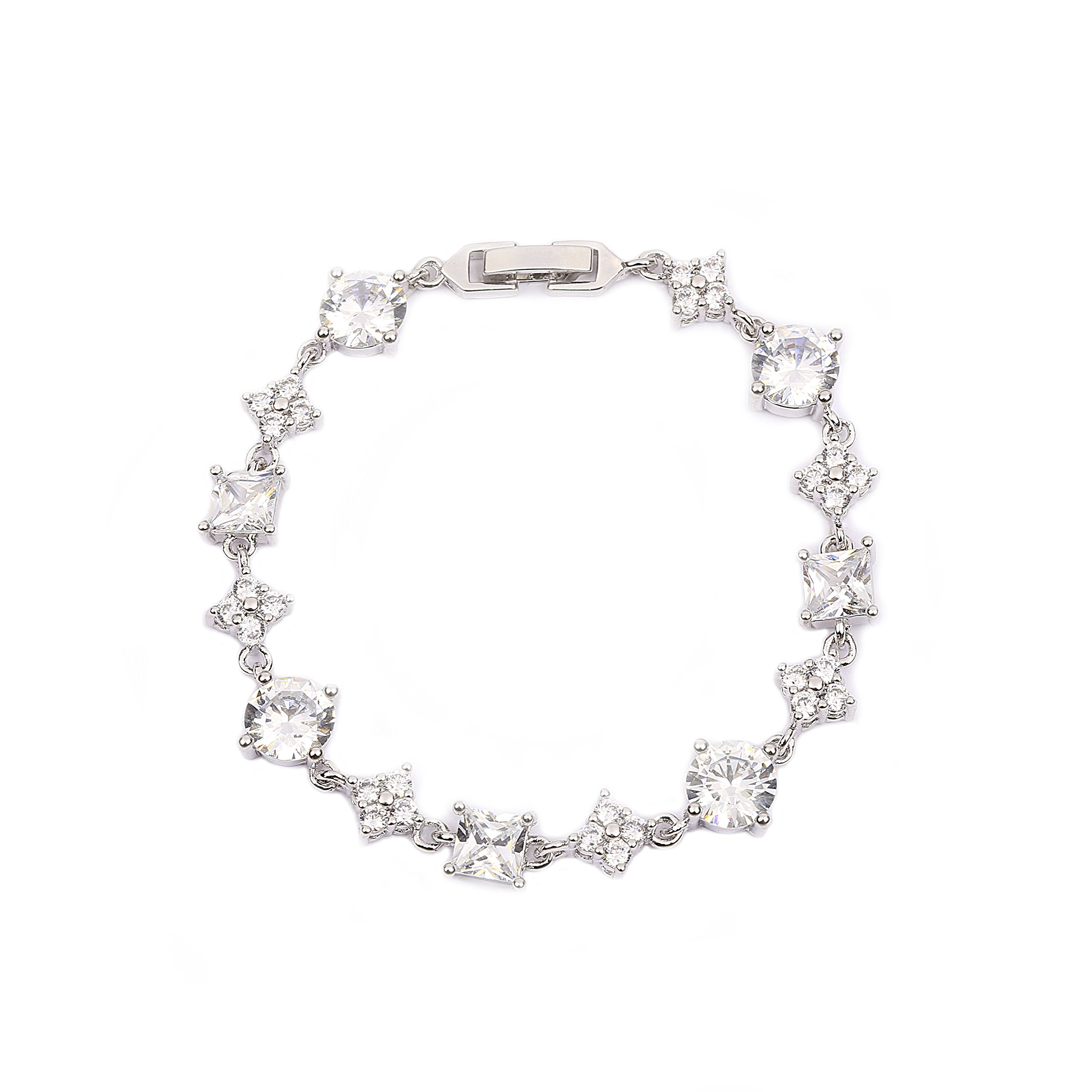 AMYJANE Silver Tennis Bracelet for Women - Sterling Silver Square and Round Swarovski Crystal Cubic Zirconia CZ Bridal Bracelet for Wedding Party Prom Girls Bridesmaids Gift