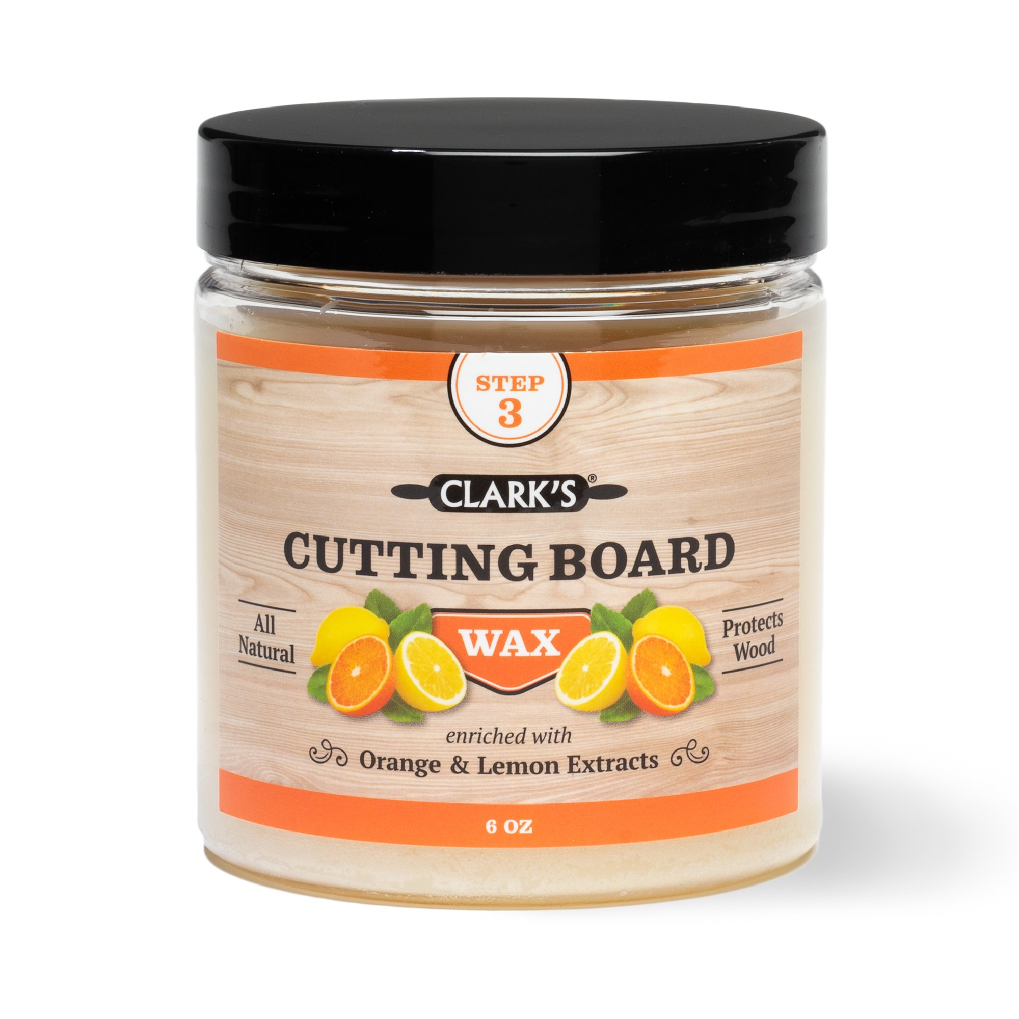CLARK'S Cutting Board Finish Wax, Enriched with Lemon & Orange Oils ,Made with Natural Beeswax and Carnauba Wax,Butcher Block Wax, (6 ounces) by CLARKS