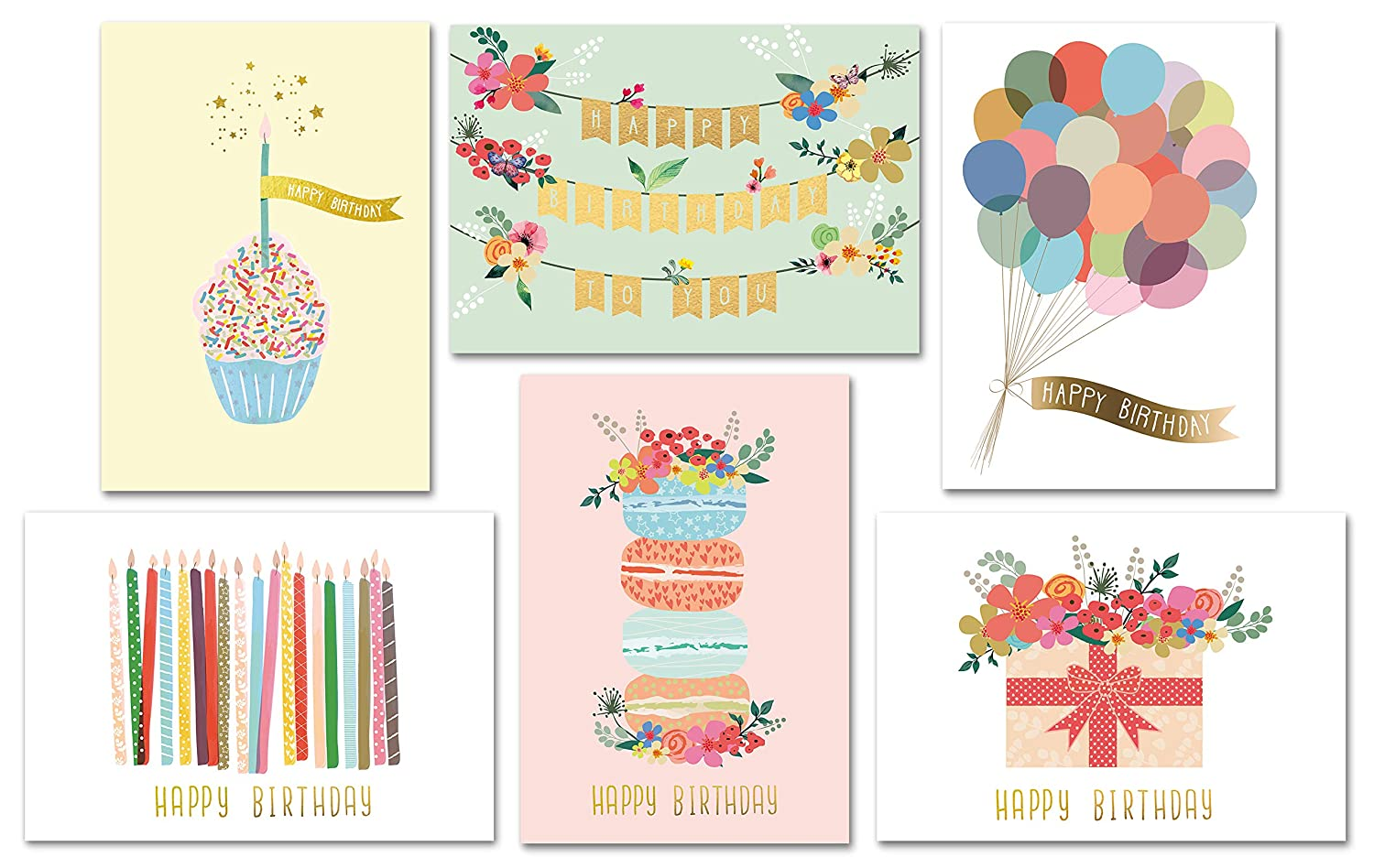 Gold Foil Bulk Birthday Cards Assortment 48pc Happy Card With Envelopes Box Set Assorted Blank For Women Men