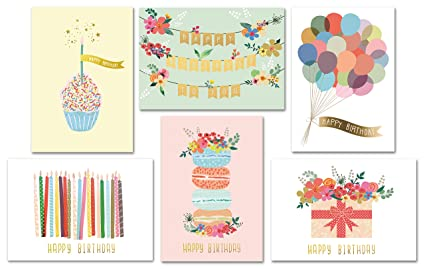 Gold Foil Bulk Birthday Cards Assortment 48pc Happy Card With Envelopes Box Set