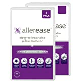 AllerEase Ultimate Protection & Comfort Temperature Balancing Pillow Protector – Zippered, Antimicrobial, Allergist…