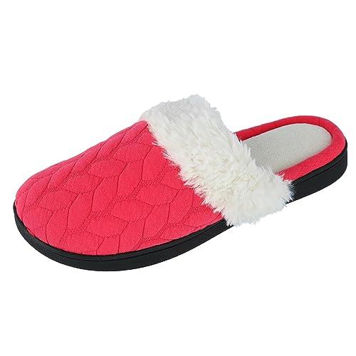 Isotoner - Zapatillas de Estar por casa de Material Sintético para Mujer Talla única, Color Rojo, Talla L: Amazon.es: Zapatos y complementos