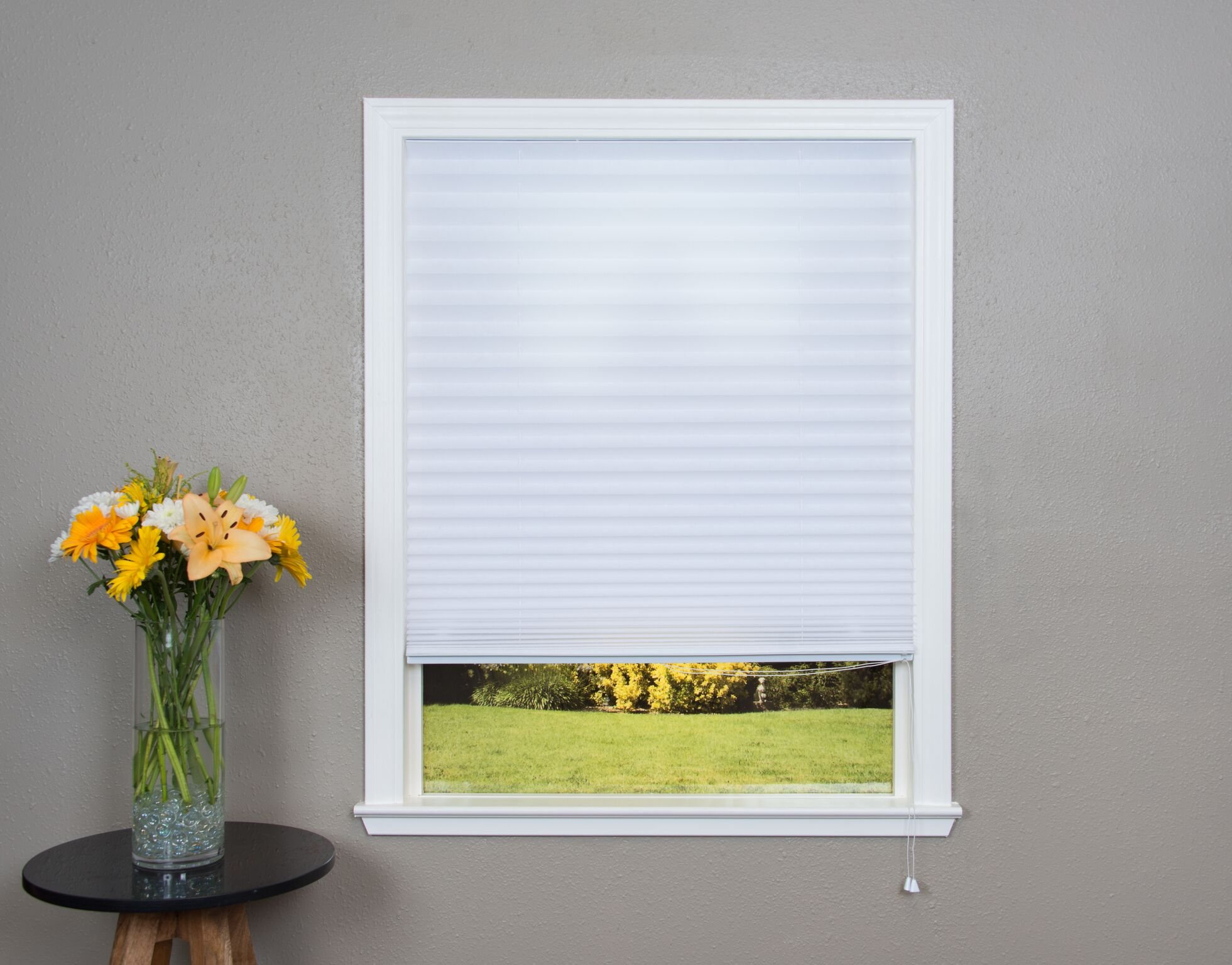 Original Corded Lift Light Filtering Pleated Fabric Shade White, 36''x 72'' by Redi Shade (Image #2)