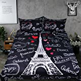 Sleepwish Eiffel Tower Bedding Sweet Home Collection Duvet Cover Love Letters French Theme Bedding Set Romantic Gifts for Couples (Queen)