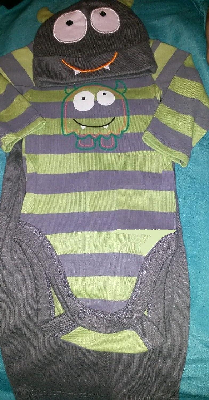 bb6afb0da Amazon.com  0-3 Boy 3 Pc Monster Set Gerber Grey and Green  Baby