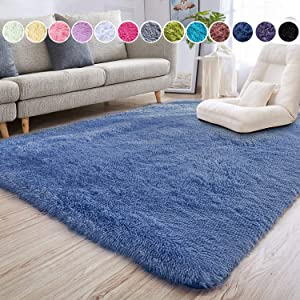 junovo Ultra Soft Area Rugs 5.3 x 7.5ft Fluffy Carpets for Bedroom Kids Girls Boys Baby Living Room Shaggy Floor Nursery Rug Home Decor Mats, Light Navy