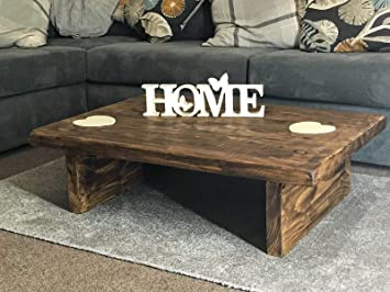 Coffee Table Rustic Wood Home Low Chunky Handmade Wooden Tudor