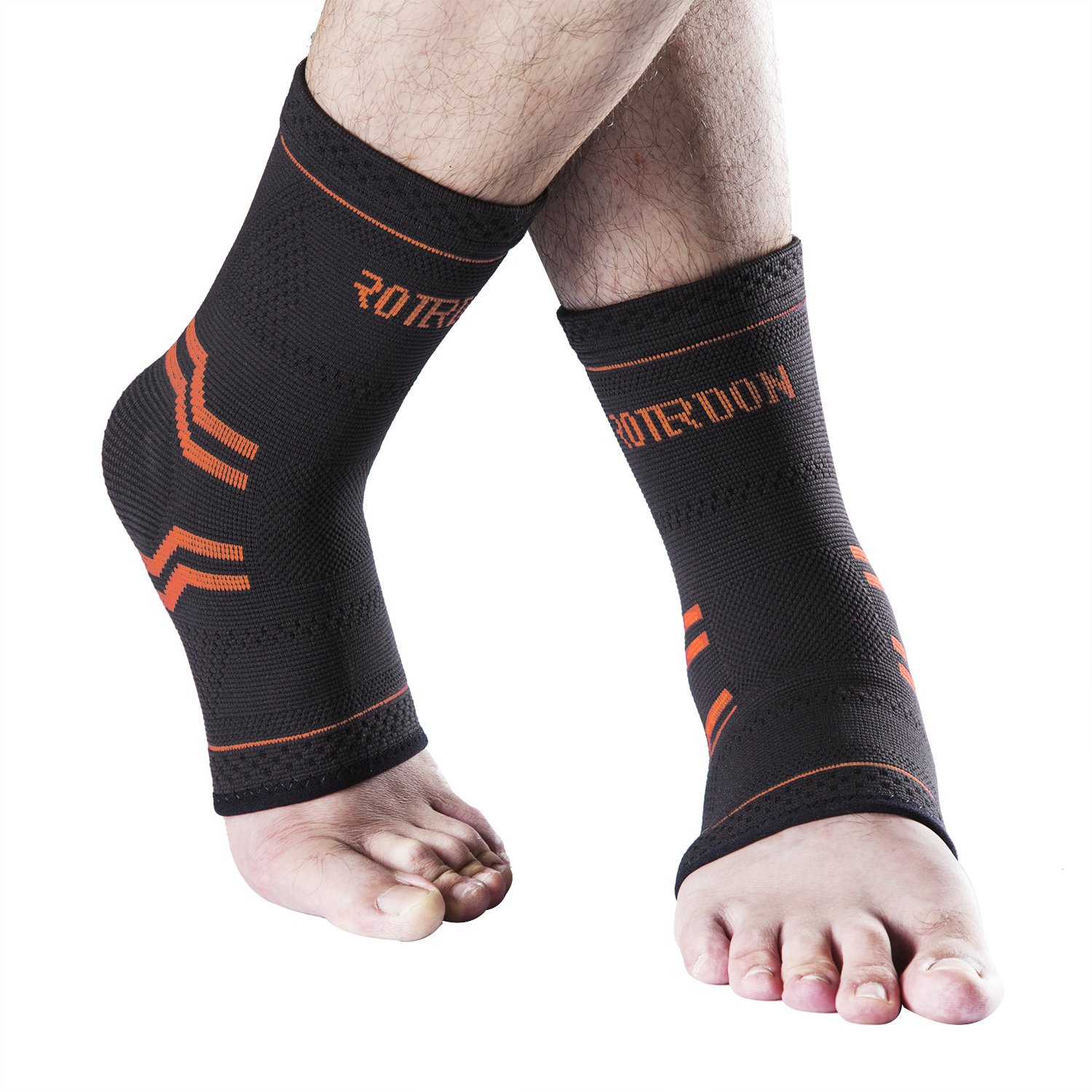 Ankle Braces Compression Support Sleeve for Injury Recovery,Joint Pain Sport Activity Etc.Plantar Fasciitis Foot Socks with Arch Support,Eases Swelling,Heel Spurs,Achilles Tendon Roterdon(Orange,XL)