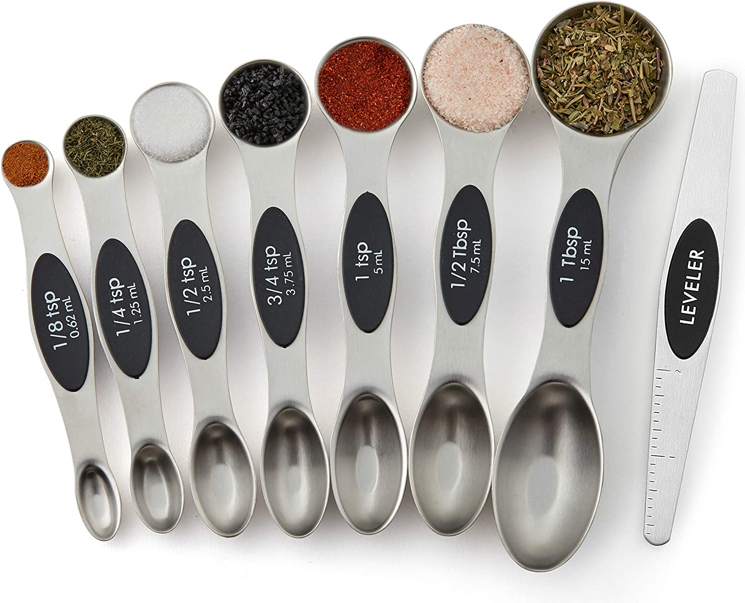 Amazon Com Spring Chef Magnetic Measuring Spoons Set Dual Sided Stainless Steel Fits In Spice Jars Set Of 8 Kitchen Dining