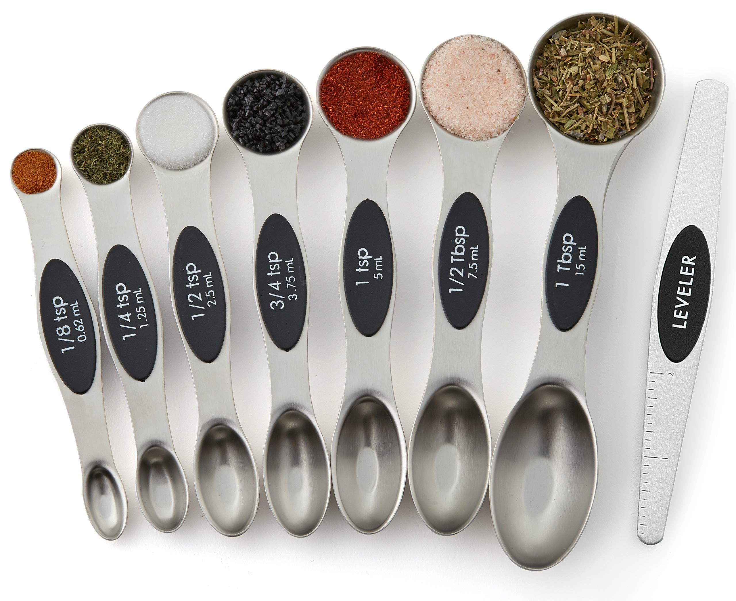 Spring Chef Magnetic Measuring Spoons Set, Dual Sided, Stainless Steel, Fits in Spice Jars, Set of 8 by Spring Chef