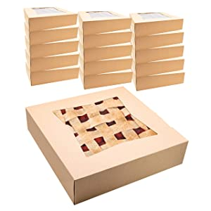 "Kraft Pie Boxes with Window, 10"" x 10"" x 2 ½"" Width, Disposable, 15 Bakery Box Container Set, Cake Pastries Doughnuts Cookies Pies Cheesecakes"