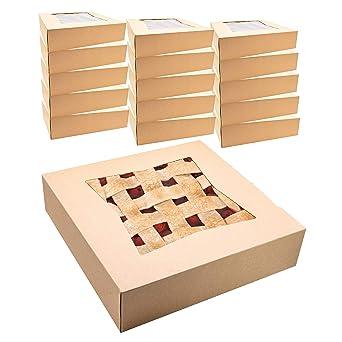 Cajas de papel kraft para tartas con ventana, 10 x 10 x 2 1/2 ...