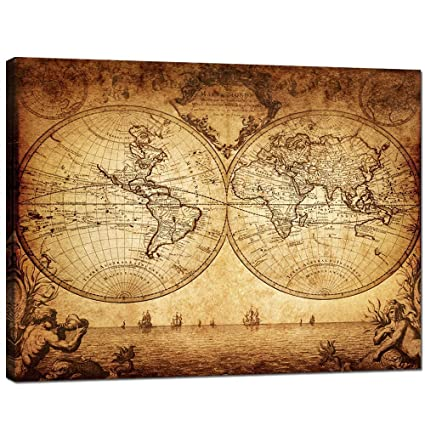 Amazon sea charm canvas wall art new antique vintage classic sea charm canvas wall artnew antique vintage classic style canvas map of the gumiabroncs Image collections