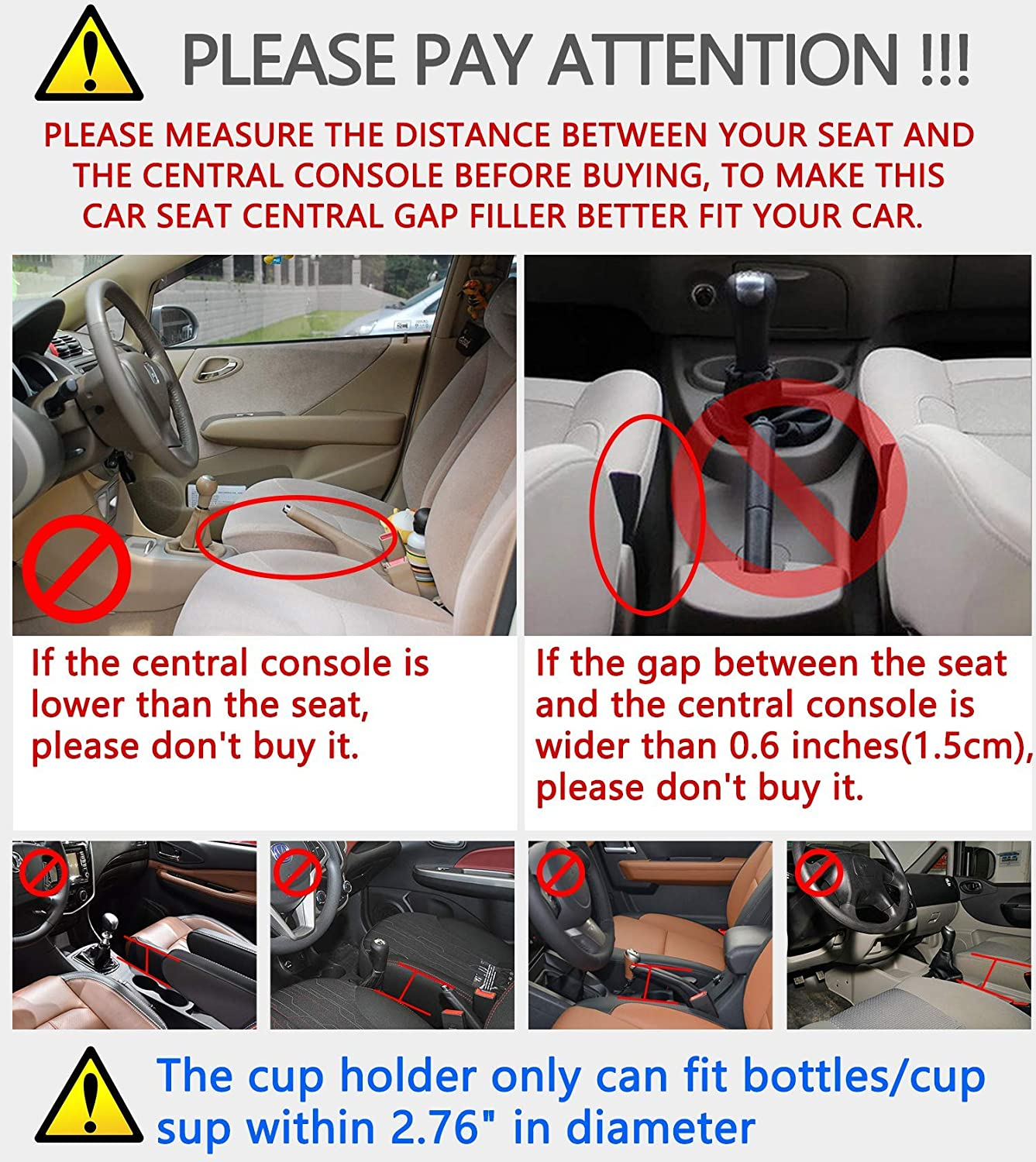 Homesprit 2 Packs Premium PU Black Car Seat Gap Filler,No deformation,Environmentally friendly materials Various Cards Cup Holder Console Side Pocket for Cellphone,Wallet