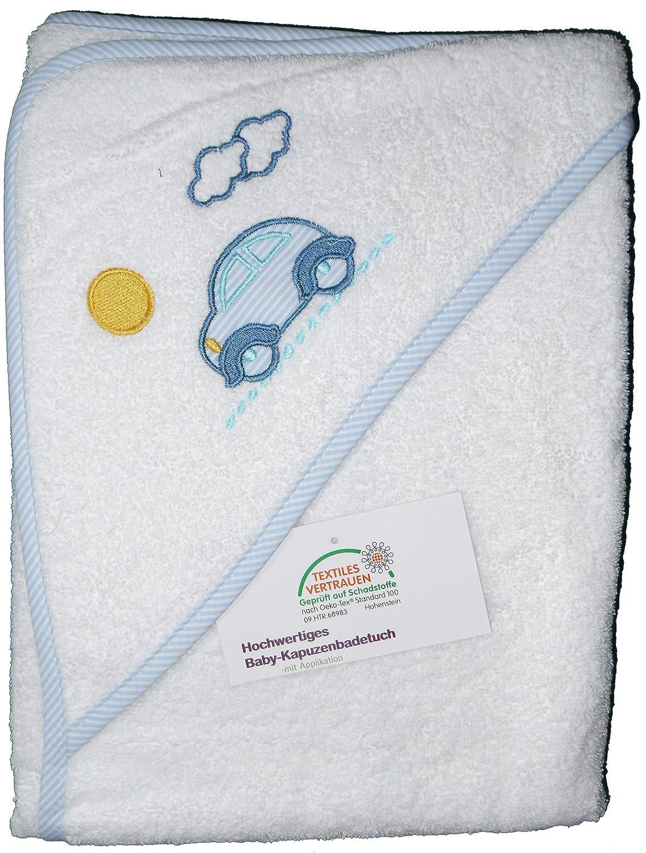 Baby Kapuzen Badetuch 100 x 100 cm Frottier bestickt /ÖKOTEX Elefant-weiss 100/% Baumwolle