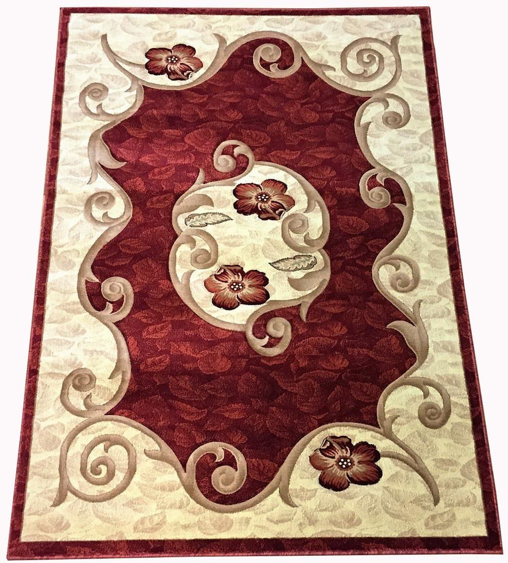 Modern Medallion Flower Design Carpet Burgundy Red Floral Contemporary Area Rug 8 11
