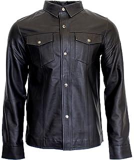 RICANO Mens Shirt, Herren Langarm-Lederhemd (Slim Fit) aus Lamm Nappa Echt 86566e54f9
