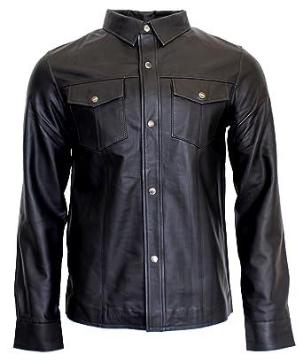 RICANO Mens Shirt, Herren Langarm-Lederhemd (Slim Fit) aus Lamm Nappa Echt  Leder in Schwarz  Amazon.de  Bekleidung c2ef5bad9d