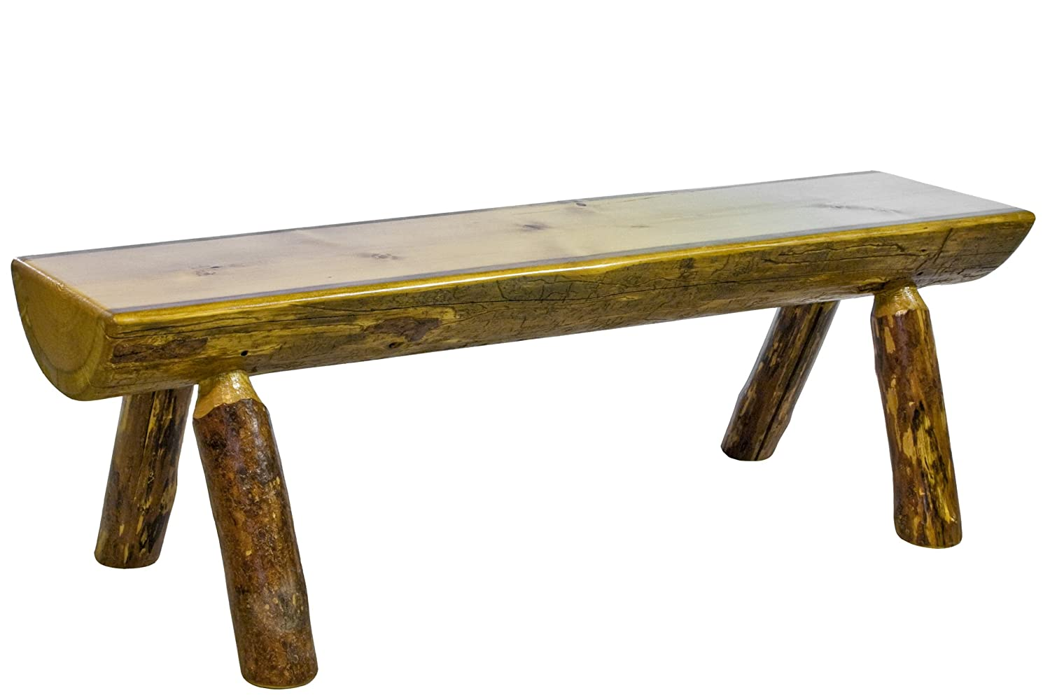 Amazon.com: Montana Woodworks MWGCHLB6 Glacier Country Collection Half Log  Bench, 6 Feet: Kitchen U0026 Dining