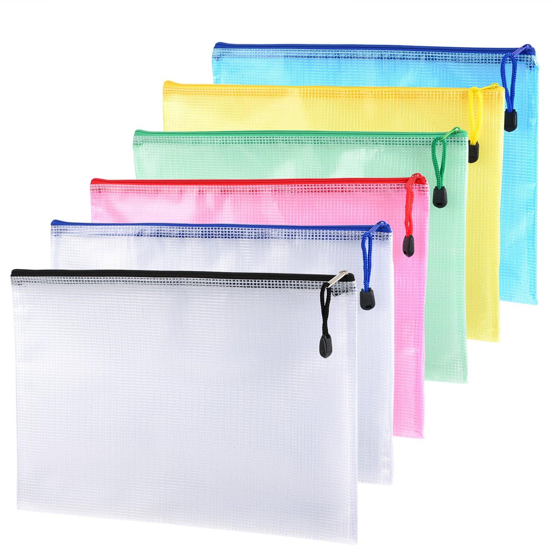 6 Pezzi A4 Formato Mesh Sacchetto del Documento Mesh Cartella Ufficio con Chiusura Lampo per Cosmetici Uffici Fornisce Gli Accessori di Viaggio, 6 Colori Outus