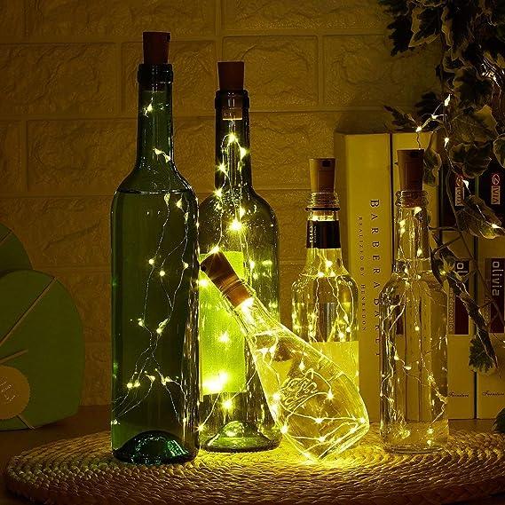 10 pieza 20 LED Luz botella Cadenas Luz Blanca Cálida 78 en Blanco Cálido LED botellas Luz alambre de cobre Cork forma la luz nocturna LED Vino Botella boda ...