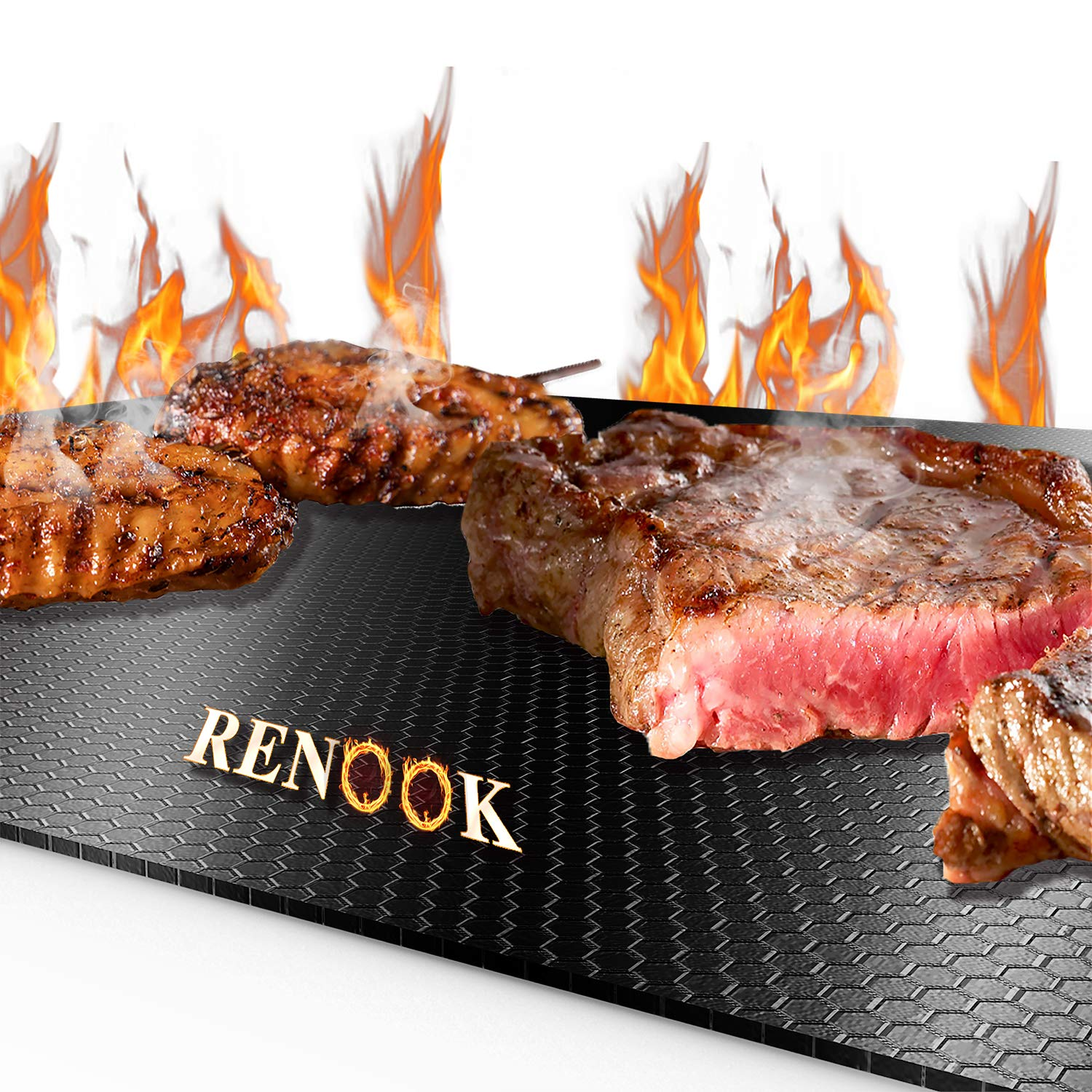 RENOOK Grill Mat Ultimate, Thickened 0.4mm in Thickness, Heavy Duty 600 Degree Non-Stick Grilling Sheets, Set of 2 BBQ Grill mats, 15.75 x 13-Inch, Black, by RENOOK