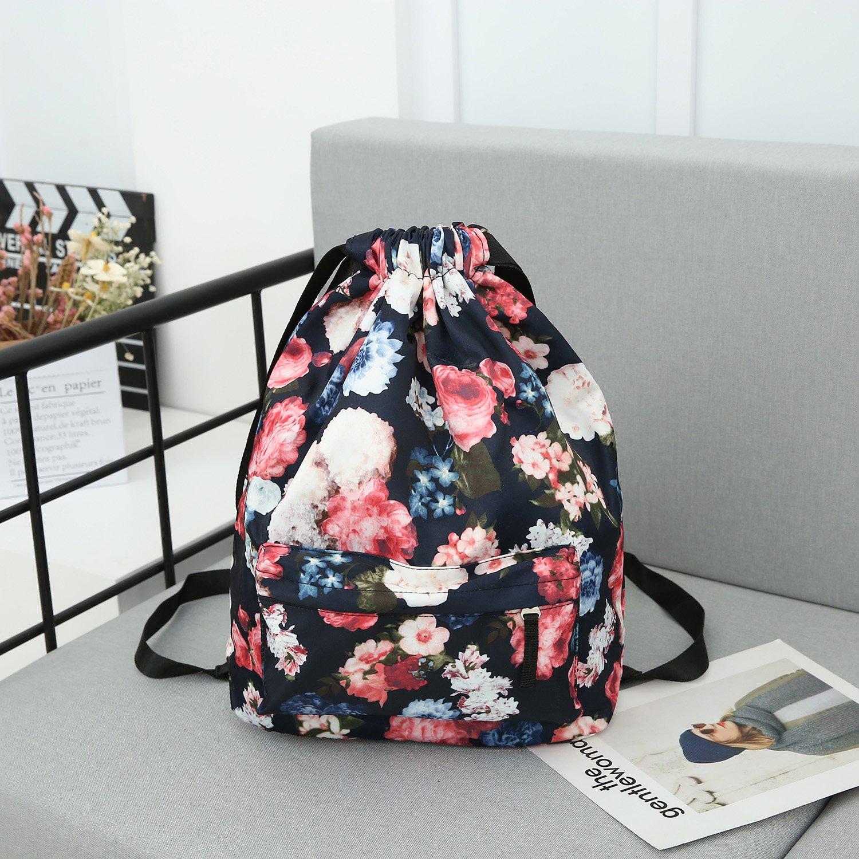 MORHUA Backpack Drawstring Bag Gymbag Drawstring Backpack Sports Travel Yoga Gymsack (Dark Orchid Pocket) by MORHUA (Image #4)