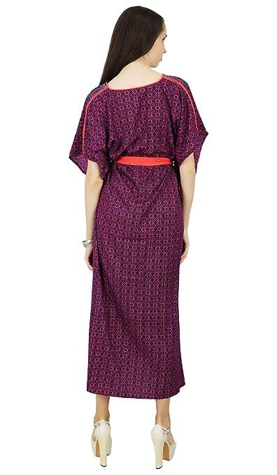 3434fb1db566e Phagun Polyester Caftan Bohemian Paisley Kaftan Long Maxi Nightwear Dress  at Amazon Women's Clothing store: