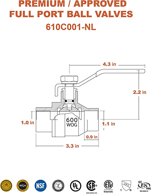 3//4-Inch Everflow Supplies 610C034-NL Lead Free Full Port Sweat Ball Valve