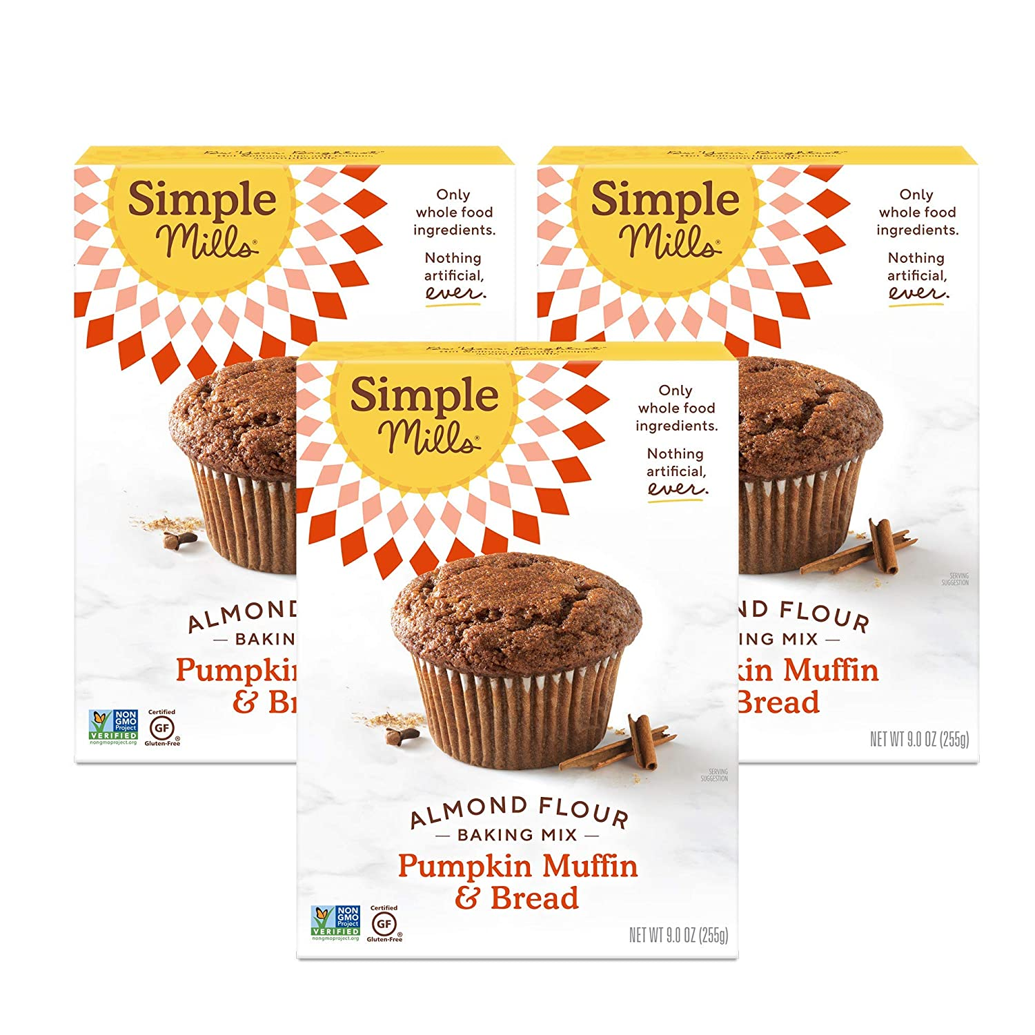 Simple Mills Almond Flour Baking Mix, Gluten Free Pumpkin Bread Mix, Muffin pan ready, Made with whole foods, 3 Count, (Packaging May Vary)